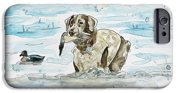 Best Sellers -  - Chocolate Lab iPhone Cases - Duck Hunter iPhone Case by Shaina Stinard