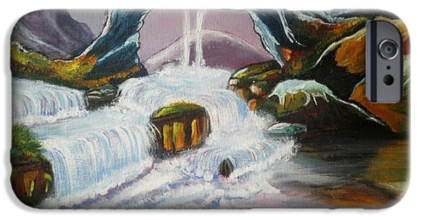 Fabulous Gifts iPhone Cases - Duck mountain waterfall iPhone Case by Artist Nandika  Dutt