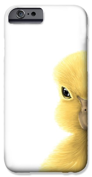 Digital Paintings iPhone Cases - Duck iPhone Case by Veronica Minozzi