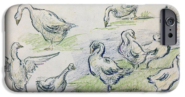 Animal Cards Pastels iPhone Cases - Ducks iPhone Case by Alfred Sisley