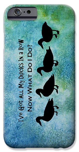 Folk Art Mixed Media iPhone Cases - Ducks in a Row iPhone Case by Jenny Armitage