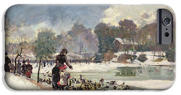 Duck iPhone Cases - Ducks in the Bois de Boulogne iPhone Case by Emile Antoine Guillier