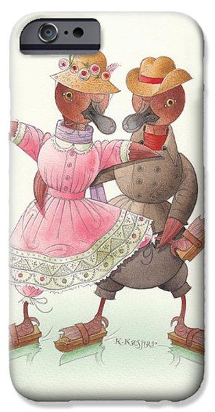Christmas Greeting Drawings iPhone Cases - Ducks on skates 07 iPhone Case by Kestutis Kasparavicius