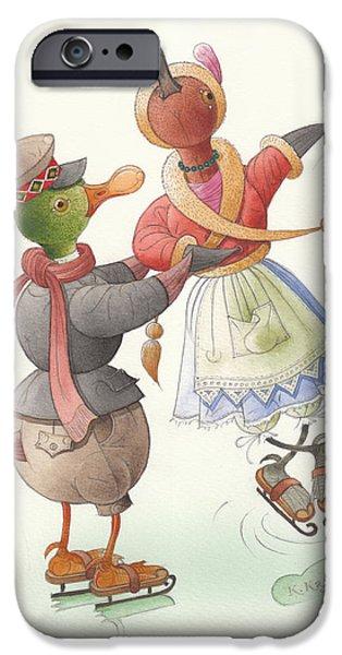 Snow Drawings iPhone Cases - Ducks on skates 08 iPhone Case by Kestutis Kasparavicius