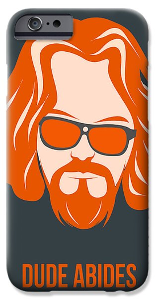 Film Mixed Media iPhone Cases - Dude Abides Orange Poster iPhone Case by Naxart Studio