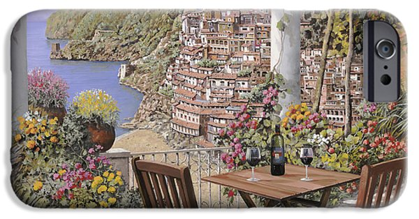 Naples iPhone Cases - due bicchieri a Positano iPhone Case by Guido Borelli