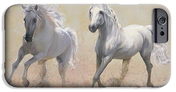 White Horses iPhone Cases - Due Cavalli iPhone Case by Danka Weitzen