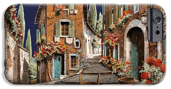 Morning Light Paintings iPhone Cases - Due Strade Al Mattino iPhone Case by Guido Borelli