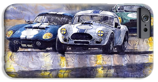 Sportcars iPhone Cases - Duel AC Cobra and Shelby Daytona Coupe 1965 iPhone Case by Yuriy  Shevchuk