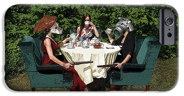 Multiple Personalities iPhone Cases - Duel at High Tea iPhone Case by Falon Barnes