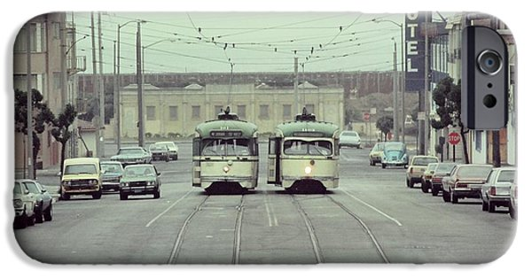 Pcc iPhone Cases - N Judah Dueling Streetcars.  End of Judah Street.  1970s. iPhone Case by John King
