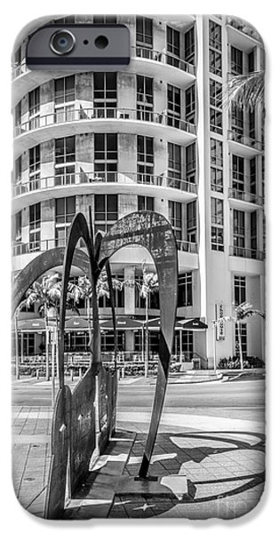 Owner Photographs iPhone Cases - Duenos do las Estrellas sculpture - Downtown - Miami - Black and White iPhone Case by Ian Monk