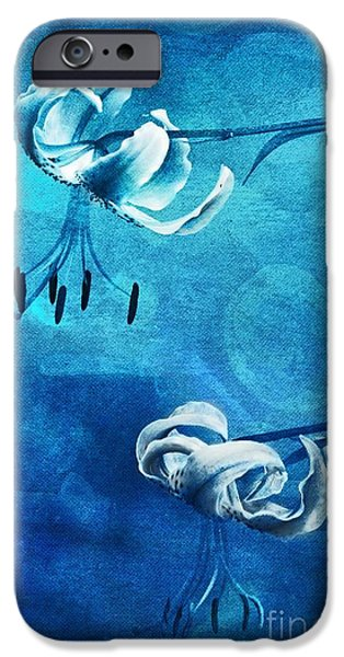 Florals iPhone Cases - Duet - blue03 iPhone Case by Variance Collections