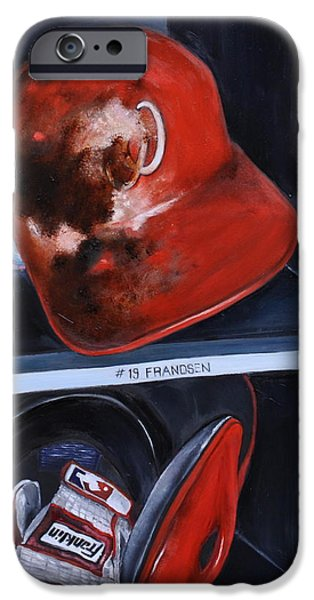 Baseball Glove Paintings iPhone Cases - Dugout iPhone Case by Lindsay Frost