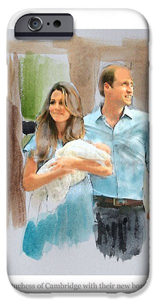 Duke and Duchess of Cambridge with their new son iPhone Case by Roger Lighterness