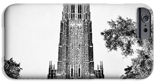 Duke iPhone Cases - Duke Chapel in Black and White iPhone Case by Emily Kay