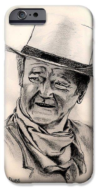 John Wayne Drawings iPhone Cases - Duke iPhone Case by Charles Norris