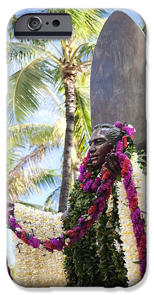 Duke Kahanamoku Covered in Leis iPhone Case by Brandon Tabiolo