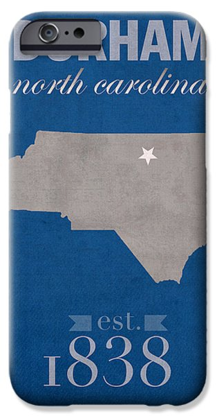Universities Mixed Media iPhone Cases - Duke University Blue Devils Durham North Carolina College Town State Map Poster Series No 034 iPhone Case by Design Turnpike
