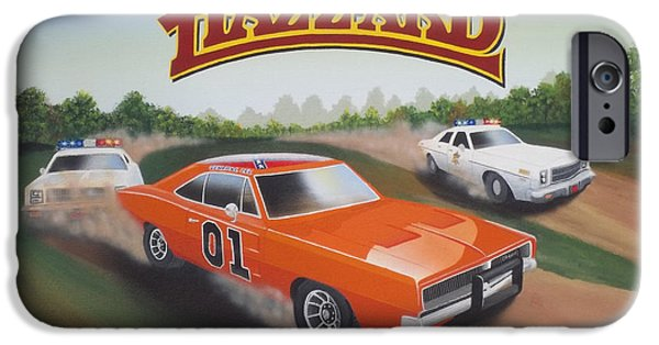 Etc. Paintings iPhone Cases - Dukes of Hazzard Chase iPhone Case by Gregory Murray
