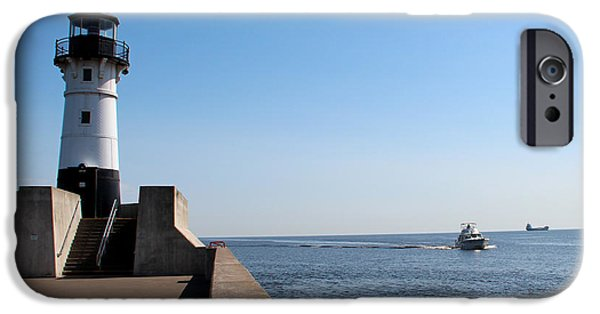 Lighthouse iPhone Cases - Duluth Harbor North Breakwater Lighthouse iPhone Case by George Jones