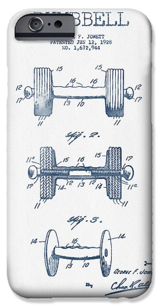 Recently Sold -  - Technical iPhone Cases - Dumbbell Patent Drawing from 1927  -  Blue Ink iPhone Case by Aged Pixel