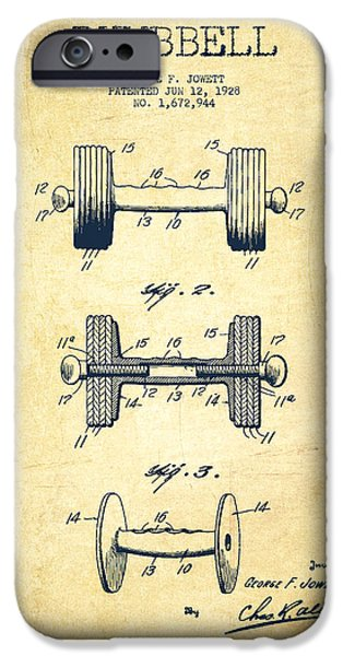 Training iPhone Cases - Dumbbell Patent Drawing from 1927 - Vintage iPhone Case by Aged Pixel