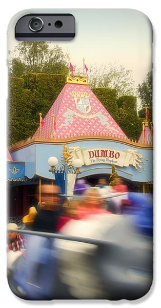 Mad Hatter iPhone Cases - Dumbo Flying Elephants Fantasyland Signage Disneyland 02 iPhone Case by Thomas Woolworth