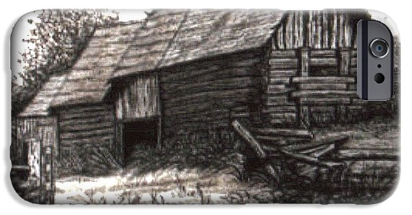 Old Barns Drawings iPhone Cases - Dunchurch Farm iPhone Case by Wanda Kightley