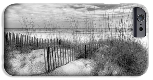 Fl iPhone Cases - Dune Fences iPhone Case by Debra and Dave Vanderlaan