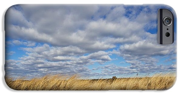 Mashpee iPhone Cases - Dune grass and sky iPhone Case by Allan Morrison