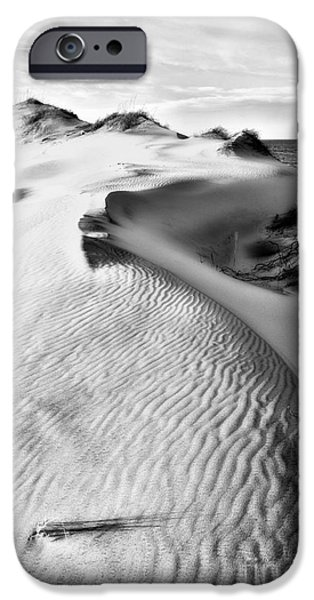 Pamlico Sound iPhone Cases - Dune Shadows - Outer Banks BW iPhone Case by Dan Carmichael