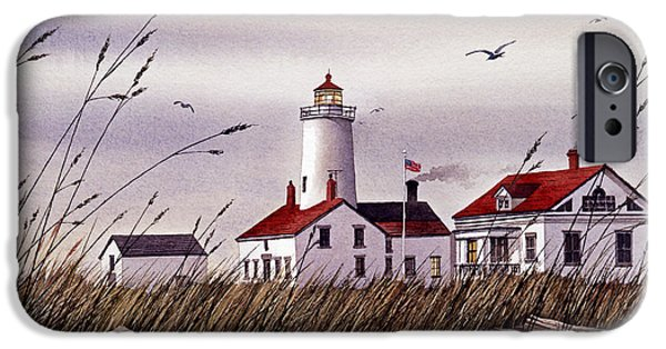 Lighthouse Paintings iPhone Cases - Dungeness Lighthouse iPhone Case by James Williamson