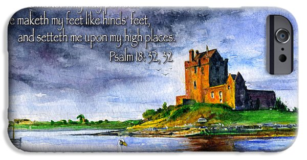 Psalm iPhone Cases - Dunguaire Castle Psalm 18 iPhone Case by John D Benson