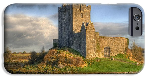 Ancient iPhone Cases - Dunguaire Castle with Dramatic Sky Kinvara Galway Ireland iPhone Case by Juli Scalzi