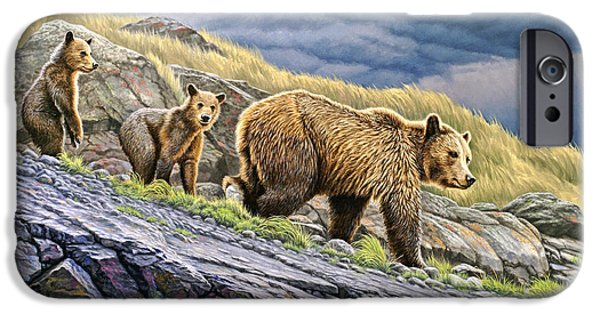 Grizzly iPhone Cases - Dunraven Pass Grizzly Family iPhone Case by Paul Krapf