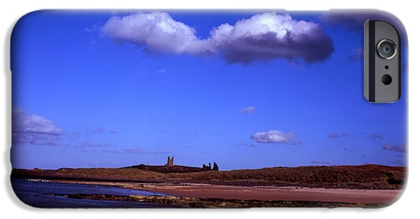 Sand Castles iPhone Cases - Dunstanburgh Castle from beach at Embleton Bay Embleton Northumberland England iPhone Case by Michael Walters
