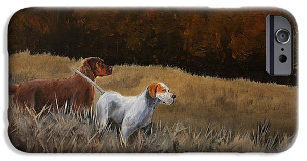 Setter Pointer iPhone Cases - Duo iPhone Case by Paul Francev