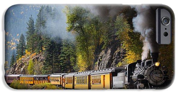 Railway iPhone Cases - Durango-Silverton Narrow Gauge Railroad iPhone Case by Inge Johnsson