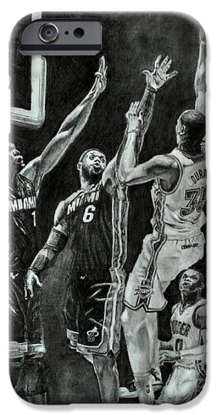 Lebron Drawings iPhone Cases - Durant for the win iPhone Case by Ezra Strayer
