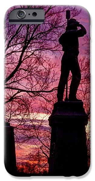 Durell's Independent Battery D and 48th PA Volunteer Infantry-A1 Sunset Antietam iPhone Case by Michael Mazaika