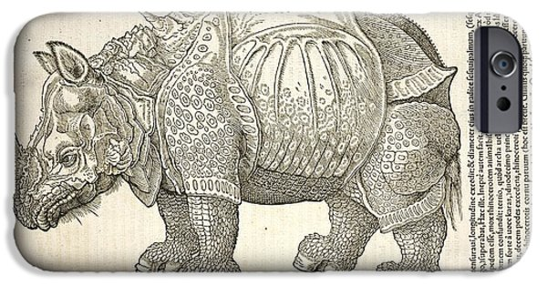 Swiss Horn iPhone Cases - Durers Rhinoceros, 16th Century iPhone Case by Natural History Museum, London
