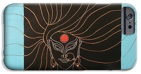 Hindu Goddess iPhone Cases - Durga iPhone Case by Kruti Shah