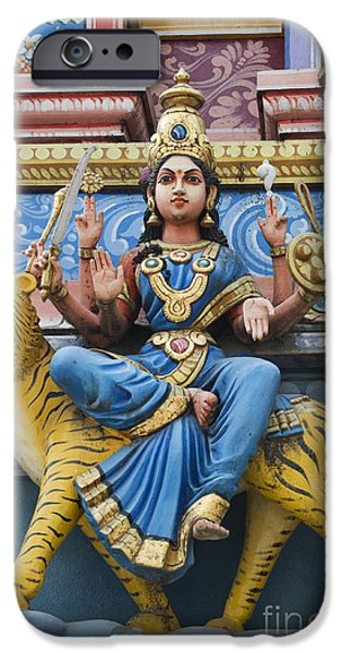 Hindu Goddess iPhone Cases - Durga Statue on Hindu Gopuram iPhone Case by Tim Gainey
