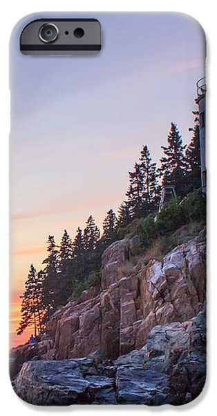 Dusk at Bass Harbor Light iPhone Case by Stephen Beckwith