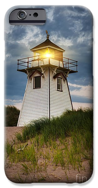 Province iPhone Cases - Dusk at Covehead Harbour Lighthouse iPhone Case by Elena Elisseeva