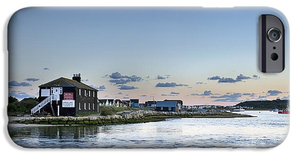 Spit iPhone Cases - Dusk at Mudeford Spit iPhone Case by Helen Hotson