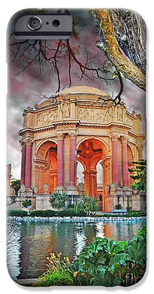 California Tourist Spots iPhone Cases - Dusk at the Palace of Fine Arts in the Marina District of San Francisco II Altered Version iPhone Case by Jim Fitzpatrick