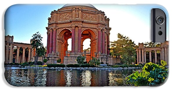 California Tourist Spots iPhone Cases - Dusk at the Palace of Fine Arts in the Marina District of San Francisco iPhone Case by Jim Fitzpatrick