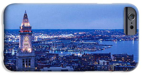 Boston Ma iPhone Cases - Dusk Boston Massachusetts Usa iPhone Case by Panoramic Images